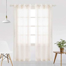 VISIONTEX Beige Cut Flower Long Strip Sheer Curtains Grommet Semi Sheer ... - $21.65