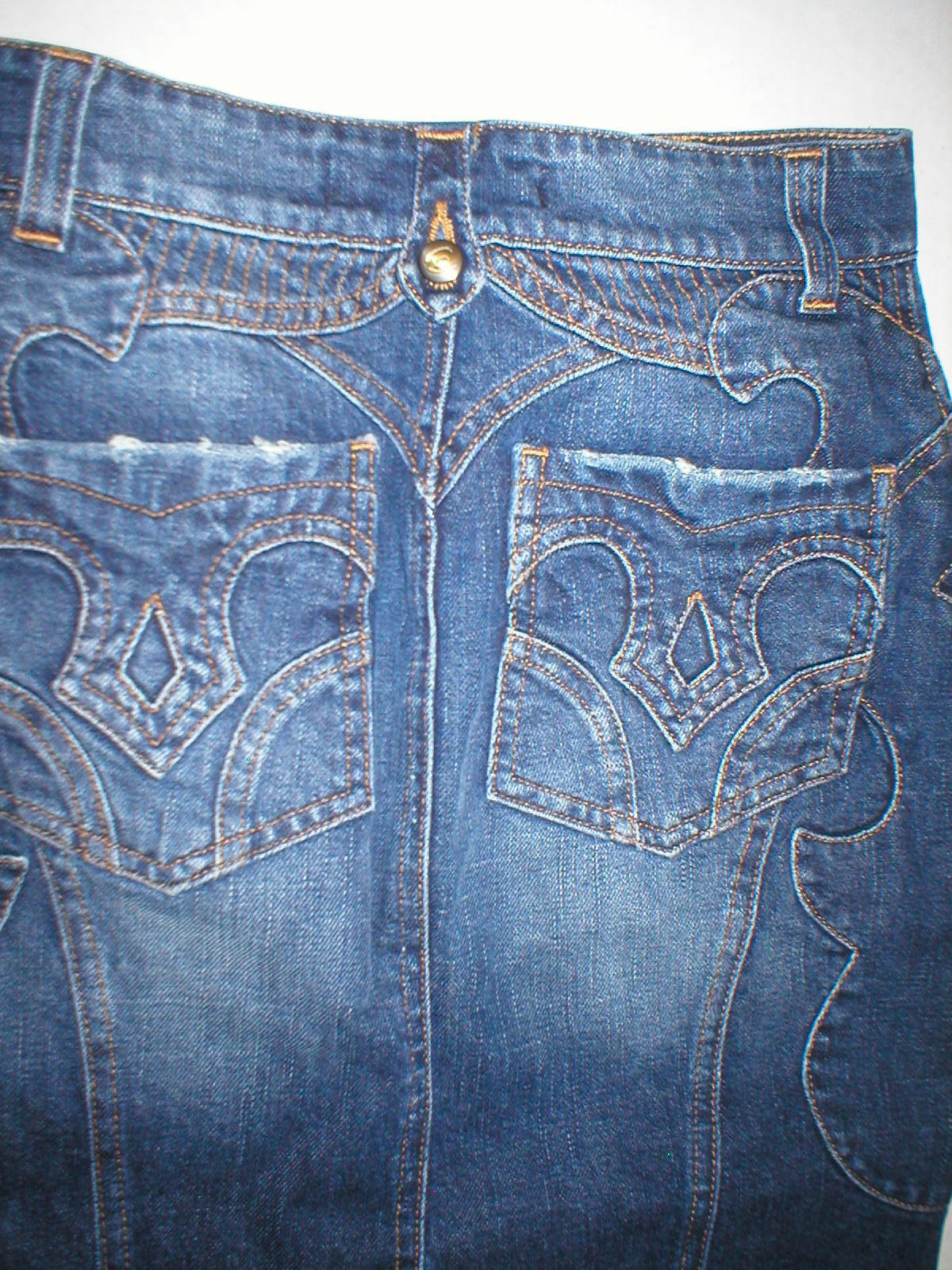 New Womens 2 25 NWT Italy Designer Just Cavalli Denim Embroidered Skirt 38 NWT
