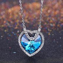Bermuda Blue Swarovski Crystals Sterling Silver Heart Necklace - £35.00 GBP