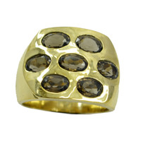 captivating Smoky Quartz Gold Plated Brown Ring supplies US 6,7,8,9 - $9.86