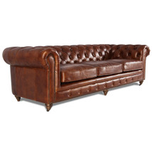MarquessLife 100% Genuine Antique Leather Tufted Couch 3 Seater Sofa Handmade