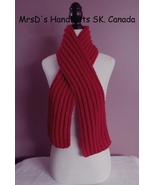 Hand Knit 49 Inch Red Scarf Childrens Boys Girls Ribbed Scarf - $21.00
