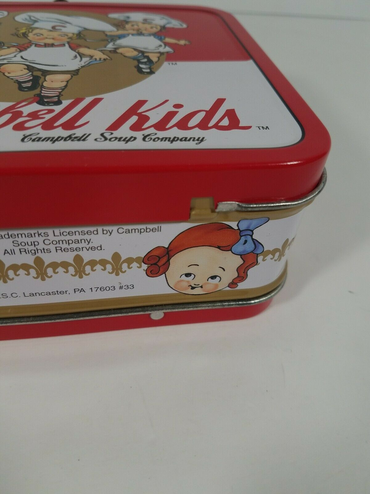 "Neat 1998 Campbells Soup Company Kids Metal Lunch Box Pail ""Clean"""