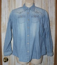 Womens Prefaded Denim Blue Wrangler Western Snap Long Sleeve Shirt Size ... - $6.92