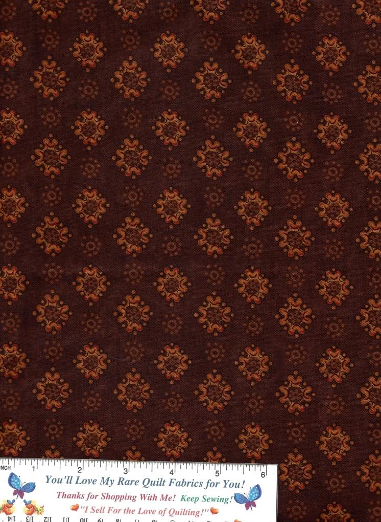 Quilt Fabric, Per Yard, Brown, Orange, Novelty, Mod Flowers, Dark Tone, Andover