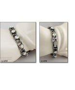 Signed Goldette Vintage Bracelet Faux Moonstones (#J1295) - $38.00