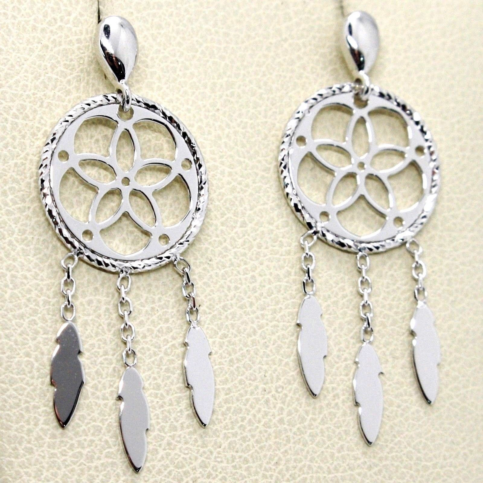 18K WHITE GOLD DREAMCATCHER PENDANT EARRINGS, FEATHER, MADE IN ITALY, 32 MM