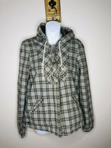 Roxy Womens M Brown Green Plaid Hooded Toggle Button Zip Up Jacket Jerse... - $37.62