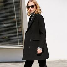 Minimalist Women's Causal Solid Double Breasted High Quality Wool Blend Coat
