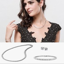 Trio Set of Dazzling Diamond Crystal Necklace Bracelet And Earrings - $26.17