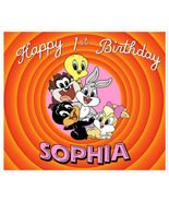 Baby Looney Tunes Birthday Banner Personalized Party Backdrop Pink Decor... - $38.50