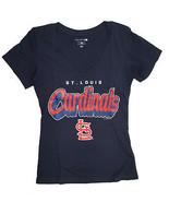 Saint Louis Cardinals, Mujer Camiseta con Cuello en V, Azul Marino, S - $11.90