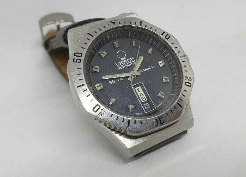 Primary image for VENUS DIVER VINTAGE TV-FORMAT 85 TS AUTOMATIC BLUE DIAL MENS WATCH