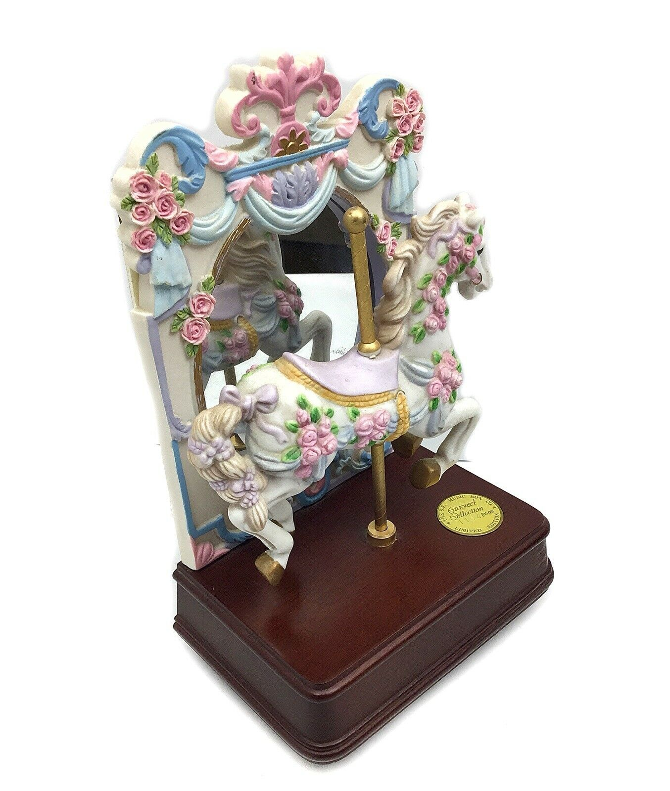 """San Francisco Music Box Company Carousel Horse Roses w Mirror Limited Edition 9"""""""