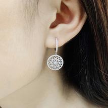 Luxury Diamond Drop Earrings 18k White Gold Female Lace Flower Design image 6