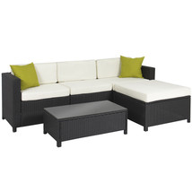 Patio Chat Set Garden Furniture Aluminium Frame Wicker 3 Seat Sofa Ottom... - $649.39