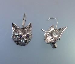 Fox mask earrings sterling silver stone eyes lever back Zimmer design - $73.76