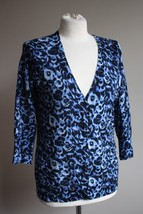 Talbots M Blue Italian Merino Wool 3/4 Sleeve V-neck Abstract Cardigan Sweater - $26.59