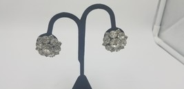 Vintage 1950-60s Star Cut And Round Multi Rhinestone Clip On Earrings  - $25.14
