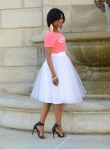 White Tulle Midi Skirt Women Knee Length White Tutu Skirt Outfit Street Style image 1