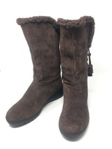 Polo Ralph Lauren Tadina Brown Suede Womens Lace Up Winter Boots Size 7 ... - $37.99