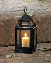"""Mini Candle Lantern Black w/ Clear Glass Panels Contemporary Style 8.75""""... - $19.75"""