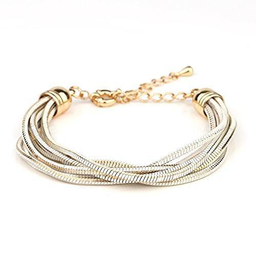 Gold Tone With White Overlay Multi Strand Designer Bracelet-United Elegance