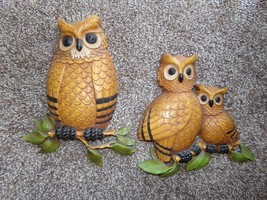 Retro 1970's Vintage Homco Owl Wall Hanger Set  Family of Owls Wall Art - $12.86
