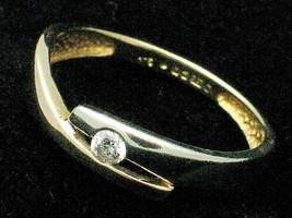Birmingham Hallmarked 9 Ct Yellow Gold & Rhodium White Diamond Set Ring - $49.30