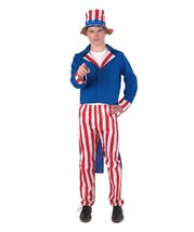 Adult Men's Uncle Sam Costume with Hat, Red White and Blue HC-217 - $46.85