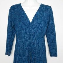 Boden Jersey Knit Surplice Dress 6 Blue Scallop Shell Print Stretch Faux... - $59.35