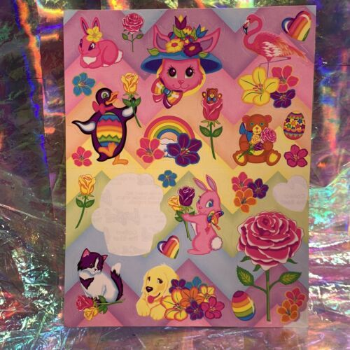 90s Lisa Frank Incomplete Sticker Sheet Easter Bunnies Kitties Eggs Rainbow