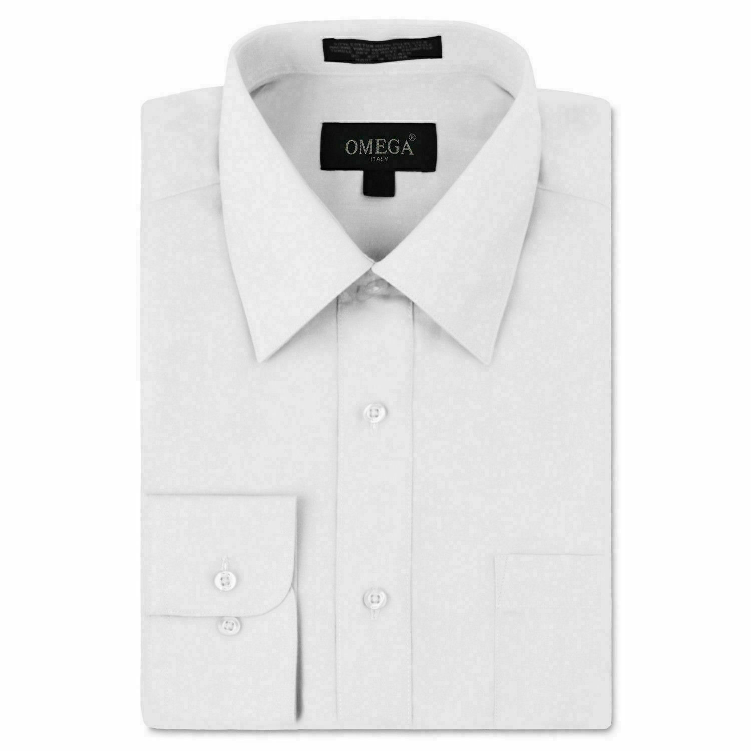 Omega Italy White Classic Fit Standard Cuff Solid Dress Shirt - XL