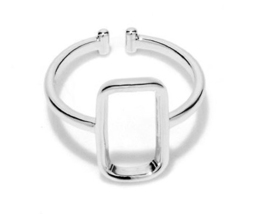 1 piece of White Gold Plated Square Geometric Simplistic Ring (JZ046A)XH - $2.50
