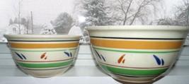 Vintage Nesting Bowls Watts? Black Band Tan Green Yellow ware Stoneware - $34.64