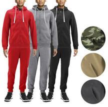 Men's Casual Fleece Sweater Pants Gym Running Athletic Jogging Track Suit Set