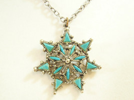 Petit Point TURQUOISE STARBURST Star Burst Pendant Necklace Cable Chain ... - $14.84