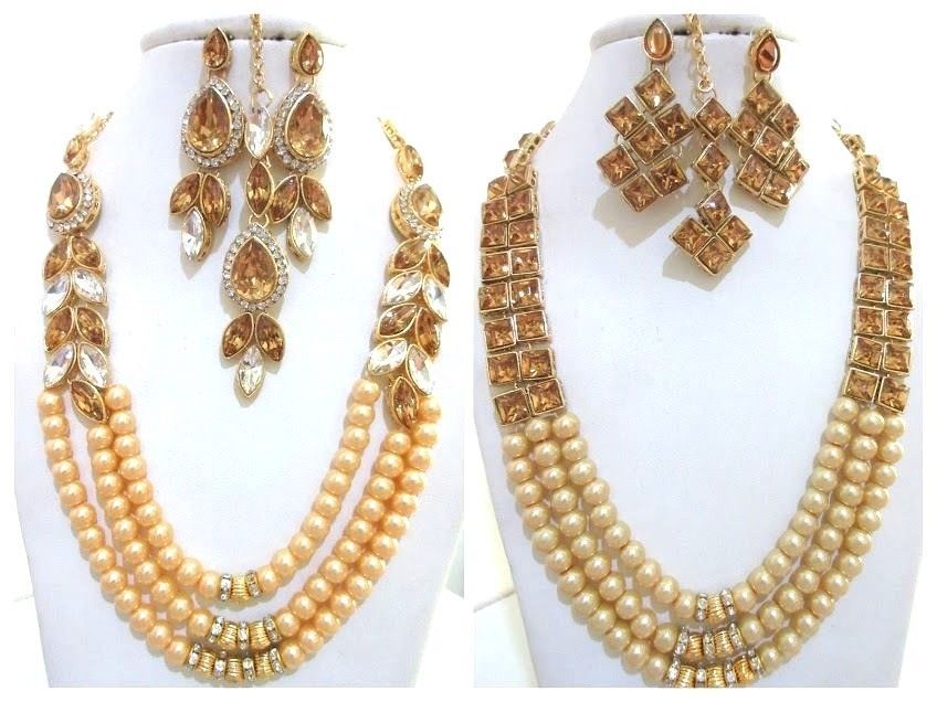 Beige Gold Pearls Indian Ethnic Jewelry Necklace Earrings Kundan New Bridal Set