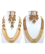 Beige Gold Pearls Indian Ethnic Jewelry Necklace Earrings Kundan New Bri... - $26.90