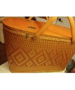 Redmon Peru Ind Large Wicker Picnic Basket Hinged Wood Top Natural Vinta... - $54.40