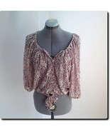 American Rag Pink and Green Lacy Short Sleeve Top Xs - $18.78