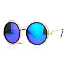 Womens Designer Fashion Sunglasses Round Circle Gold Wire Frame Mirror Lens - $10.95