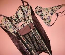 Victoria's Secret 36C garter slip/CORSET+thong White Black Purple FLORAL fishnet - $49.49