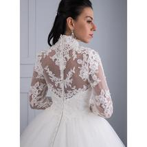 High Victorian Lace Neckline Illusion Back Long Sleeve Luxury Lace Ball Wedding  image 3