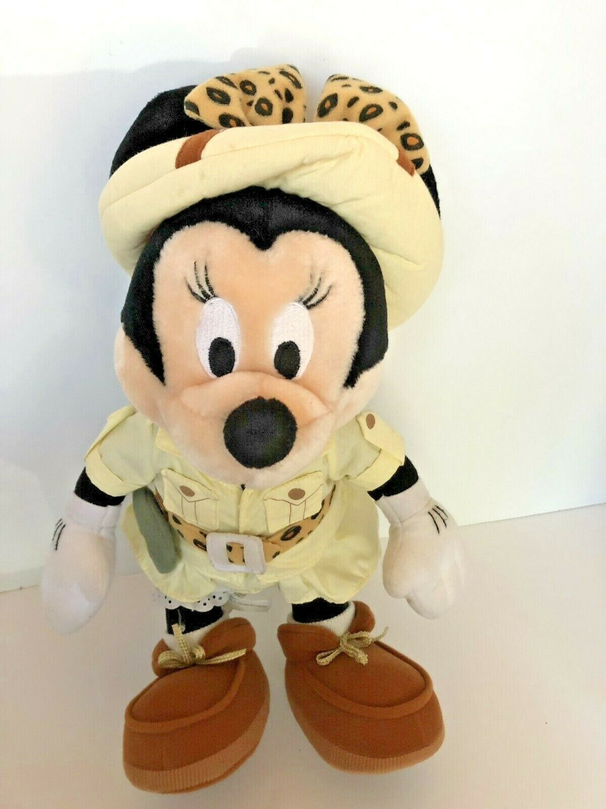 """Disney plush Safari Minnie Mouse stands about 14"""" tall with compass leopard bow  image 3"""