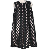 Adrianna Papell Shift Dress Laser Cut Out Women Size 8 Black Tan Party C... - $24.74