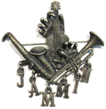 Musical Instruments Jammin Charm Word Pin Brooch Pewter Tone Metal Pre-O... - $16.99