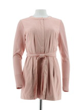 H Halston Faux Suede Jacket Sweater Knit Slvs Rose Blush 2 NEW A281814 - $42.55