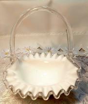 Fenton Milk Glass Ruffled Basket Bamboo Style Handle Magenta/blue Sticker '57-71 image 3
