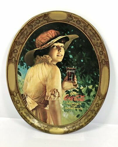 Primary image for Vintage Coca-Cola Oval Metal Tin Serving Tray - Repro 1916 World War 1 Girl
